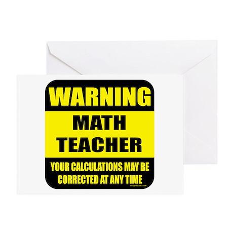 Warning math teacher sign Greeting Card