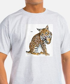 Bobcat Wild Cat (Front) Ash Grey T-Shirt