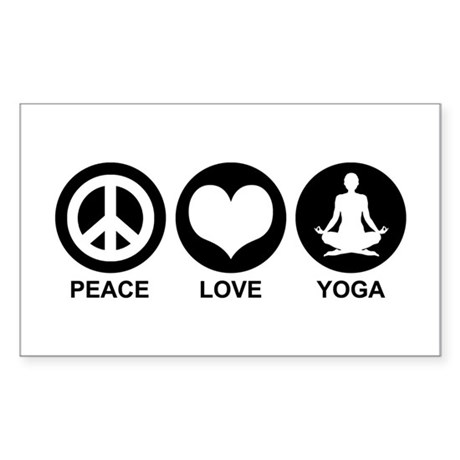 Peace Love Yoga Rectangle Sticker