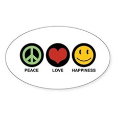 Peace Love Happiness Oval Bumper Stickers