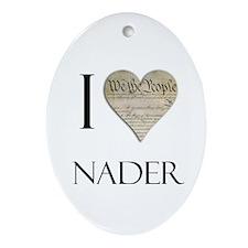I Heart Nader Oval Ornament