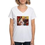 Santa's Std Poodle(w) Women's V-Neck T-Shirt