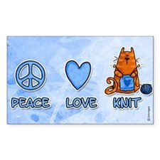 peace, love, knit Rectangle Decal