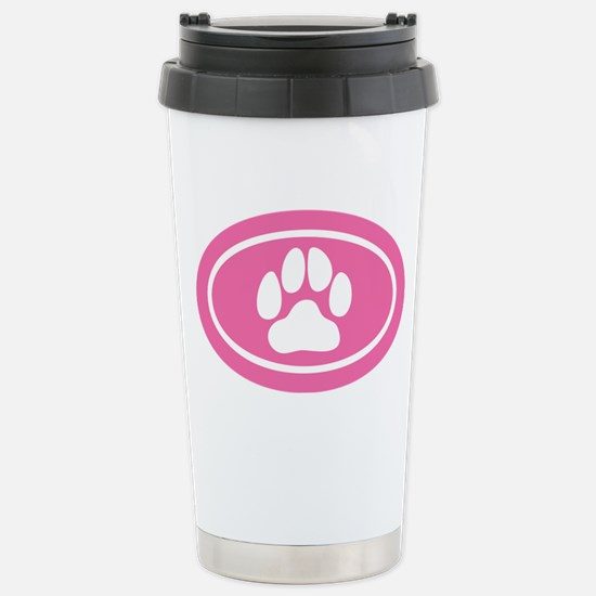 Pink Paw Print Stainless Steel Travel Mug