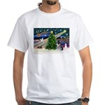 Xmas Magic & Schnauzer Puppy White T-Shirt