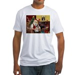 Santa's Mini Schnauzer Fitted T-Shirt
