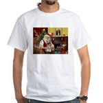 Santa's Mini Schnauzer White T-Shirt