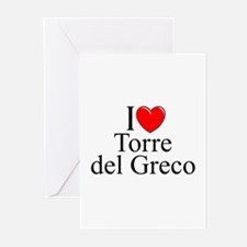 """""""I Love (Heart) Torre del Greco"""" Greeting Cards (P"""