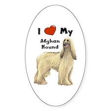 I Love My Afghan Hound Oval Decal