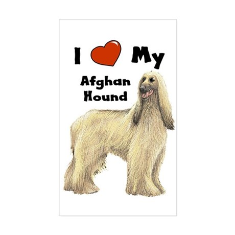 I Love My Afghan Hound Rectangle Sticker