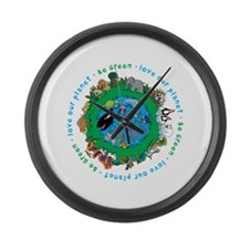 Be Green Love our planet Large Wall Clock