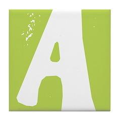 Stamped Letter A Tile Drink Coaster