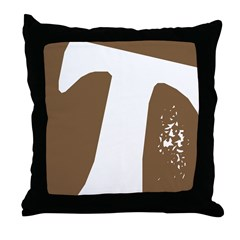 Stamped Letter T Throw Pillow