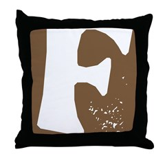 Stamped Letter F Throw Pillow