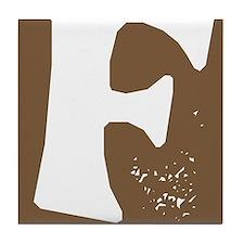 Stamped Letter F Tile Drink Coaster