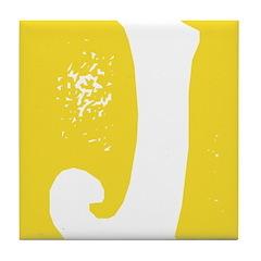 Stamped Letter J Tile Drink Coaster