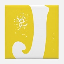 Stamped Letter J Tile Drink Coaster