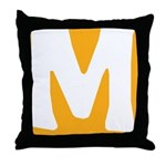 Stamped Letter M Throw Pillow