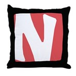 Stamped Letter N Throw Pillow