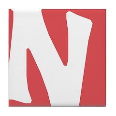 Stamped Letter N Tile Drink Coaster