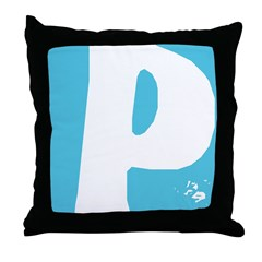 Stamped Letter P Throw Pillow