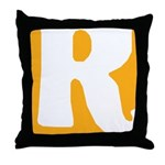 Stamped Letter R Throw Pillow
