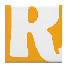 Stamped Letter R Tile Drink Coaster