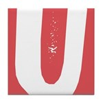 Stamped Letter U Tile Drink Coaster