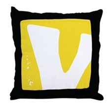 Stamped Letter V Throw Pillow