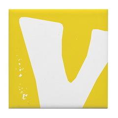 Stamped Letter V Tile Drink Coaster