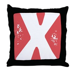 Stamped Letter X Throw Pillow