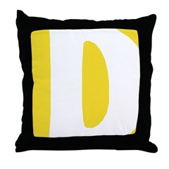 Stamped Letter D Throw Pillow
