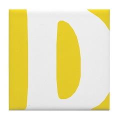 Stamped Letter D Tile Drink Coaster