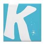 Stamped Letter K Tile Drink Coaster
