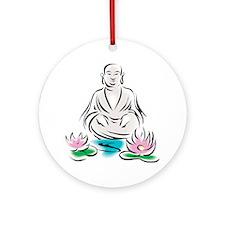 Buddha With Lotus Flowers Keepsake (Round)