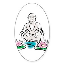Buddha With Lotus Flowers Oval Decal