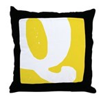 Stamped Letter Q Throw Pillow