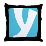 Stamped Letter Y Throw Pillow