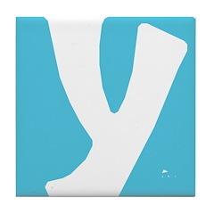 Stamped Letter Y Tile Drink Coaster