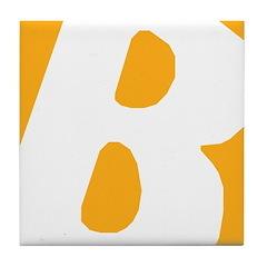 Stamped Letter B Tile Drink Coaster