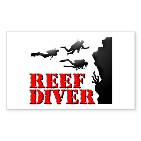 Reef Diver Rectangle Sticker