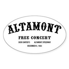 altamont free concert Oval Decal