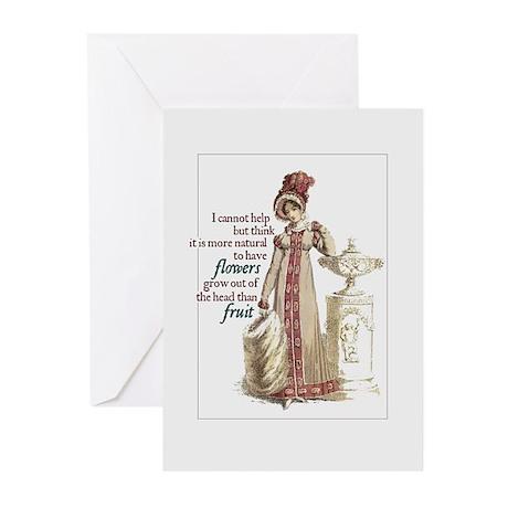Jane Austen Flowers Hat Greeting Cards