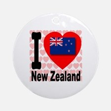 I Love New Zealand Ornament (Round)