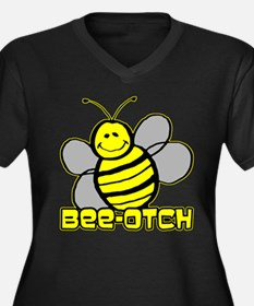 Beeotch Women's Plus Size V-Neck Dark T-Shirt