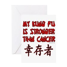 Kung Fu Stronger Than Cancer Greeting Card