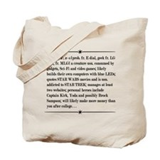 Geek, A Definition on Whilte Tote Bag