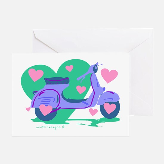 Scooter Hearts Greeting Card