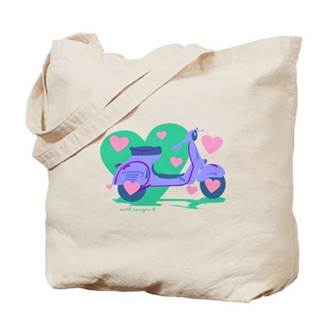 Scooter Hearts Tote Bag
