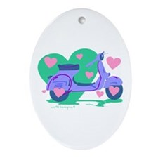 Scooter Hearts Oval Ornament